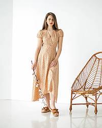 Лляна молодіжна сукня у бежевом кольорі з принтом