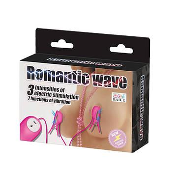 Зажим для сосков ROMANTIC WAVE с пультом (ярко-розовый)