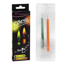 Свечи с цветным огнем, 2 шт (зелёная и оранжевая) T0403