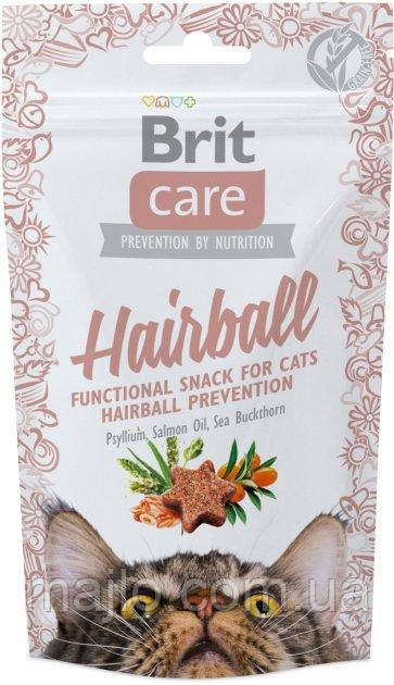 Функциональные лакомства Brit Care Hairball с уткой для котов 50г  111265/ 1395