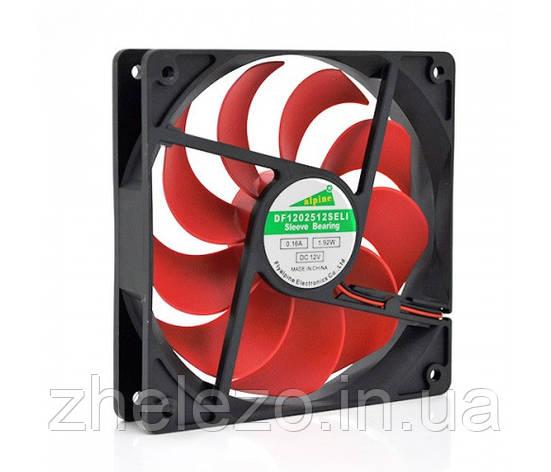 Вентилятор Merlion 12025 (CC-120*120*25/2/14421), 120x120x25мм, 4-pin, Black/Red, фото 2