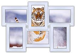 Деревянная мультирамка на 6 фото Классика 6, белая