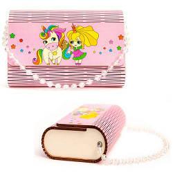 """Дерев'яна сумочка """"Принцеса і єдиноріг"""", рожева 0304"""