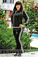 Спортивный костюм большого размера Адидас лопух спина черный, фото 1