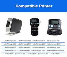 Стрічка D1 для принтера етикеток Dymo Label Manager S0720500 / 45010 пластикова 12мм х 7м, чорний на прозорому, фото 3