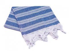 Пештемаль рушник з бахромою 95*165см синє