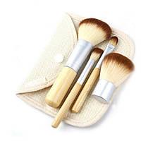 Набор бамбуковых кистей для макияжа в чехле, 4 шт.