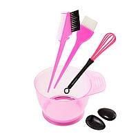 Набор инструментов для окрашивания волос - миска, кисти с расческой, венчик