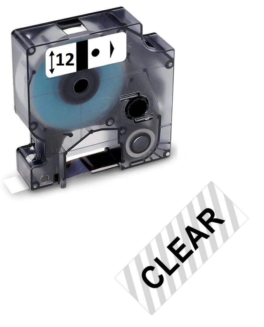 Стрічка D1 для принтера етикеток Dymo Label Manager S0720500 / 45010 пластикова 12мм х 7м, чорний на прозорому