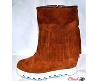 Ботинки-сникерсы зимние на танкетке натуральная замша рыжие So0057