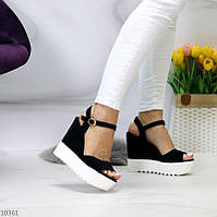 """Жіночі стильні босоніжки на платформі Чорні """"Vik"""", фото 1"""