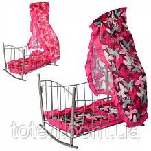 Кроватка – качалка 47x33x67 см для кукол. Матрас, подушка, балдахин. Melogo   9349 Т