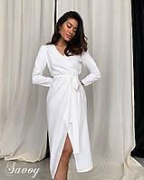 Стильное платье на запах женское длинное. Цвета: белый, чёрный. Размеры: 42-46.