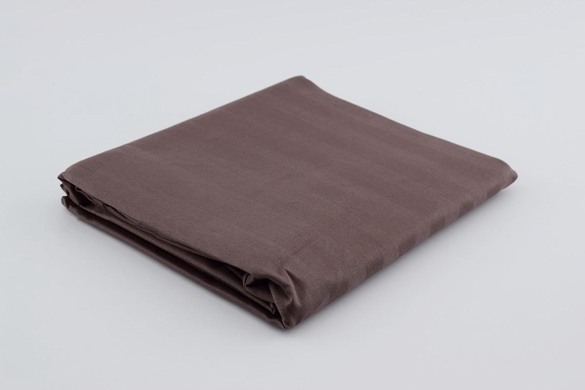 Двоспальне простирадло на резинці з коричневого страйп-сатину