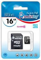 Карта памяти microSDHC, 16Gb, Class10, SmartBuy, SD адаптер