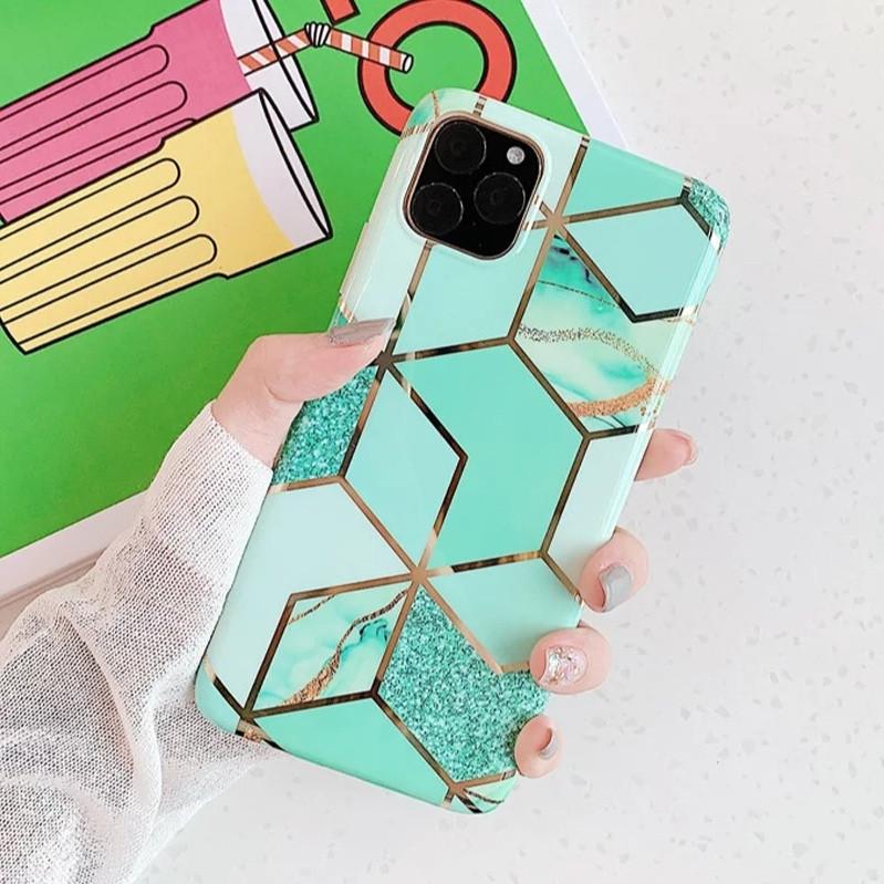 Силиконовый чехол USLION для Apple iPhone 7 / 8 с геометрическим принтом под мрамор