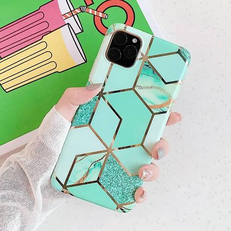 Силіконовий чохол USLION для Apple iPhone 7 / 8 з геометричним принтом під мармур, фото 2
