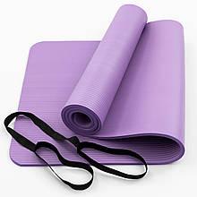 Килимок-Мат для йоги та фітнесу зі спіненого каучуку OSPORT Premium NBR 183х61см товщина 1см (FI-0075) Фіолетовий