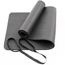 Килимок-Мат для йоги та фітнесу зі спіненого каучуку OSPORT Premium NBR 183х61см товщина 1см (FI-0075) Чорний з ручкою