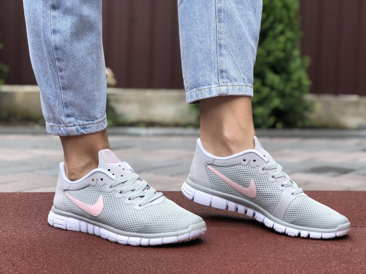Жіночі кросівки Nike Free Run 3.0 (світло-сірі з рожевим) B10510 модні якісні кроси