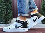 Мужские кроссовки Nike Air Force 1 LV8 High (белые с черным) спортивная кожаная обувь KS 1618, фото 2