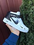 Мужские кроссовки Nike Air Force 1 LV8 High (белые с черным) спортивная кожаная обувь KS 1618, фото 3