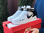 Мужские кроссовки Nike Air Force 1 LV8 High (белые с черным) спортивная кожаная обувь KS 1618, фото 4