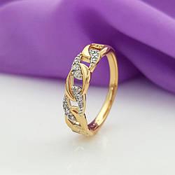 Кольцо медсплав, Цепочка с камнями, р.18, р.19, р.19,5, позолота+родий, Xuping