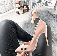 Туфлі жіночі класичні пудра лакові, фото 1