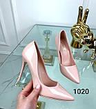 Туфлі жіночі класичні  пудра лакові, фото 2