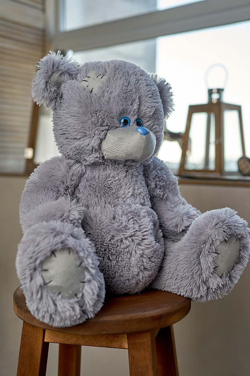 Мишка Тедди 110 см цвет серый | Шикарные плюшевые медведи | Магазин плюшевые медведи