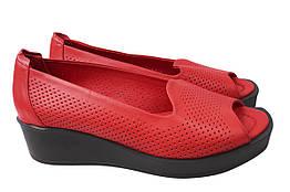 Туфли женские летние на платформе из натуральной кожи, красные Aquamarin Турция