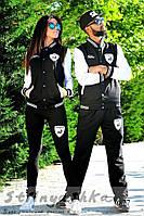 Спортивный костюм мужской и женский Lamborghini черный с белым (пара)