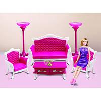 Мебель 3017 (12шт) гостиная, диван 22см, 2 кресла, столик, телефон, в кор-ке, 40-25,5-7см