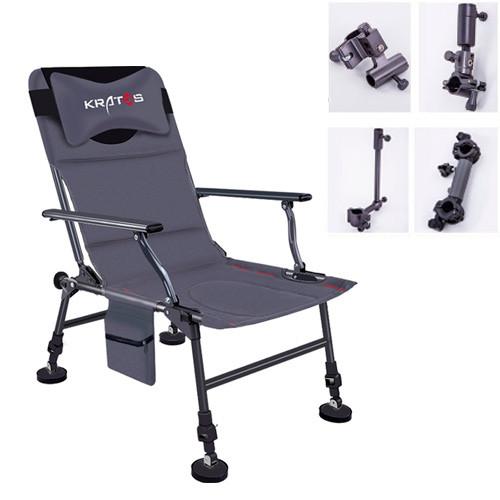 Кресло фидерное для рыбалки, складное с держателями и чехлом, Kratos