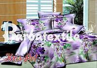 Двуспальное постельное белье Ranforce 3D - сиреневые цветы
