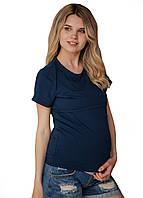 8202 Футболка для беременных с секретом для кормления Темно синяя