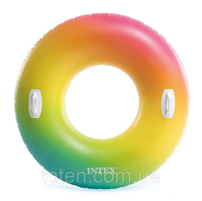"""Надувной круг Intex 58202 """"Вихрь цвета"""" с ручками (119 см)"""