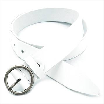 Женский кожаный ремень Белый Качественный пояс для женщины Пояс из кожи Универсальный светлый пояс для девушки