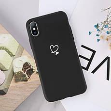 Силиконовый чехол USLION для Apple iPhone X / XS с сердечками бирюзовый, фото 2