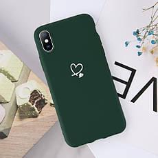 Силиконовый чехол USLION для Apple iPhone X / XS с сердечками бирюзовый, фото 3