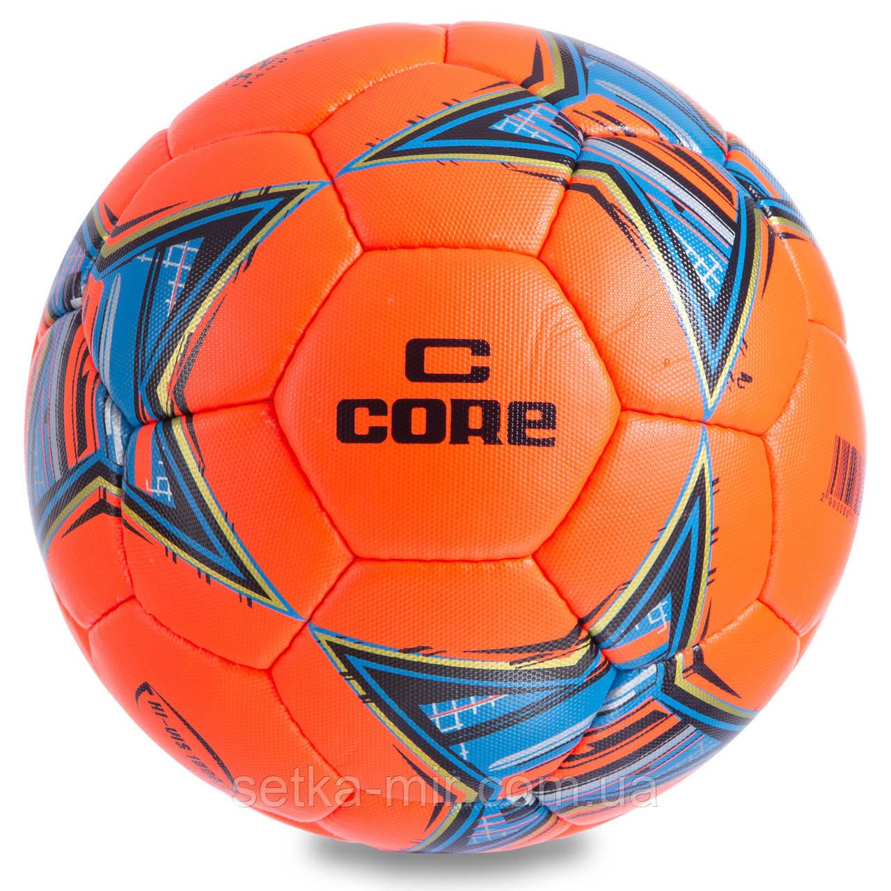 Мяч футбольный №5 PU ламин. CORE HI VIS1000 CR-019 (№5, 4 сл., сшит вручную, красный)