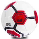 М'яч футбольний №5 PVC Зшитий машинним способом CORE ATROX CRM-052 (5сл., Білий-чорний-червоний), фото 2