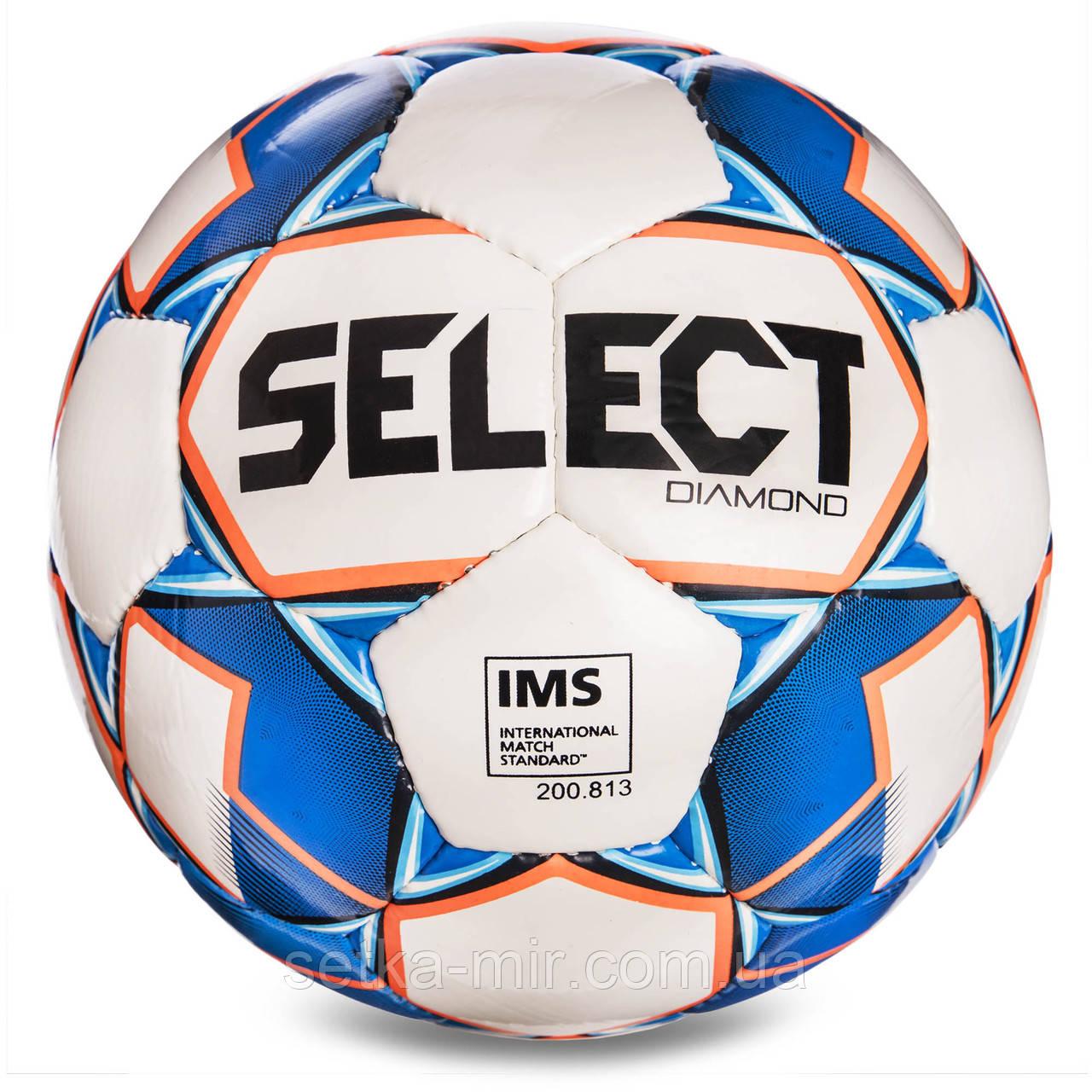 Мяч футбольный №5 SELECT DIAMOND IMS NEW (FFPUS 1200, белый-синий-оранжевый)