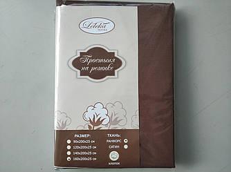 Простынь ранфорс на резинке 160х200+25см  Коричневый темный Лелека Текстиль