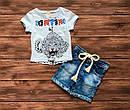 Летний стильный костюм футболка и джинсовые шорты для мальчика на 9 месяцев - 2 года, фото 3