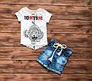 Летний стильный костюм футболка и джинсовые шорты для мальчика на 9 месяцев - 2 года, фото 4
