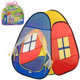 Палатка детская пирамида, 86-77-74 см, 1вход-сетка, заст-липуч+завяз, 2окна-сетки, в сумке,