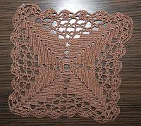 Салфетка, коричневая, вязаная крючком, ручная работа, Оригинальный подарок женщине и девушке, фото 1