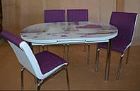 """Розкладний обідній кухонний комплект овальний стіл і стільці """"Бузок в чашці"""" ДСП гартоване скло 75*130 Mobilgen"""